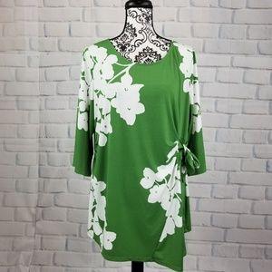 Alfani sz 2x stretch knit floral print tie top
